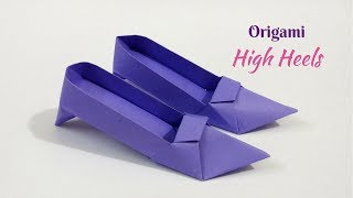DIY: Origami High Heels Design (Shoes) | How To Make Paper Shoes For Dolls | Craftastic