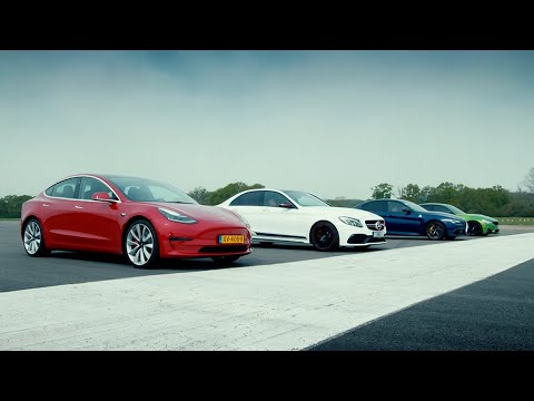 Tesla Model 3 Performance vs Rivals: M3 C63 S & Giulia QV (EXTENDED) | Top Gear : Series 27