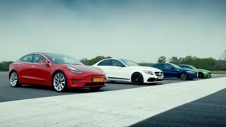 Tesla Model 3 Performance vs Rivals: M3, C63 S & Giulia QV (EXTENDED) | Top Gear : Series 27
