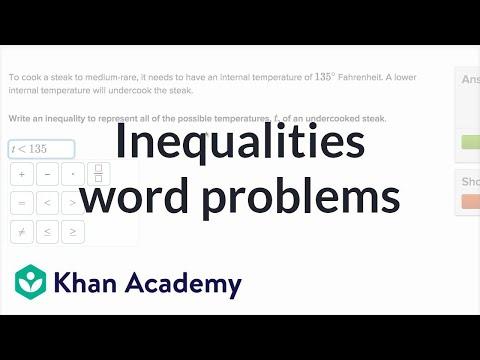 Inequalities Word Problems (video) Khan Academy