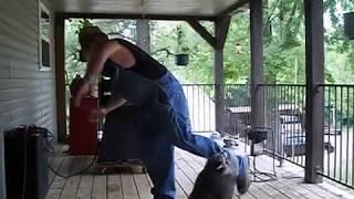 Американец танцует со своим домашним енотом