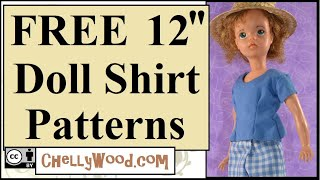Free Doll Clothes Patterns: Shirt For 12 Inch Dolls Like 1960s Tammy / Sindy