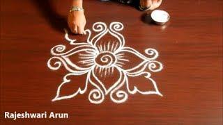 Simple Rangoli Design Without Dots * Small Kolam Without Dots * Easy Muggulu Designs