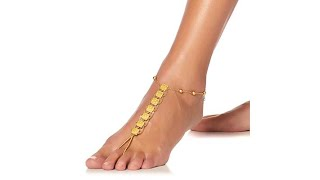 Asa Jewelry Goldtone Engraved Station Anklet Foot Jewelr...