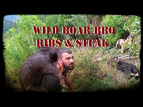 Wild boar BBQ ribs & steak