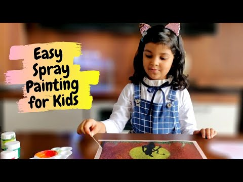 Easy Spray Painting for Kids | Spray Painting using Toothbrush | Lord Krishna Painting