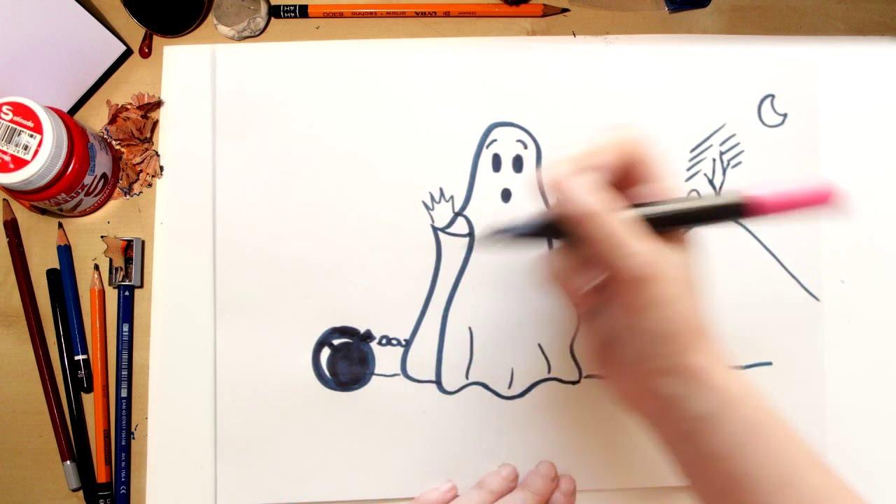Como dibujar un Fantasma - dibujos de halloween para niños