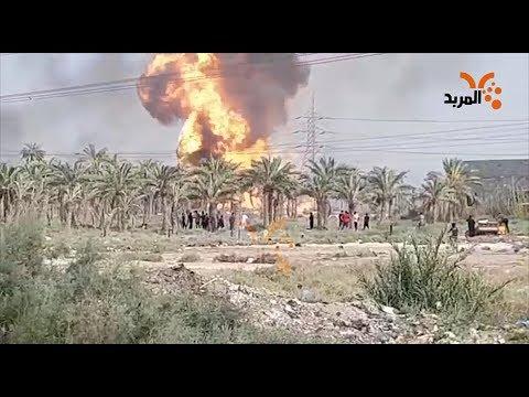 شاهد بالفيديو.. حريق ينشب في محطة الهارثة الكهربائية #المربد