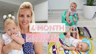 4 Month Baby Update   Rolling Over, Sitting Up, Touching Toes and Really Lauging