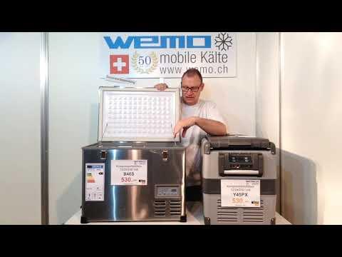 Vergleich Test Kompressorkühlbox 12V WEMO B46S vs WEMO Y45PX Kühlbox, keine Waeco Dometic Engel