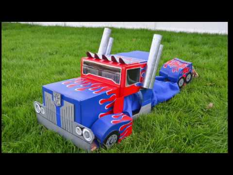 Optimus Prime Transformers Cardboard Costume :  Autobot to Semi-Truck