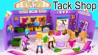 Shopping At Playmobil  Horse Tack Shop with Spirit Riding Free Dolls - Video