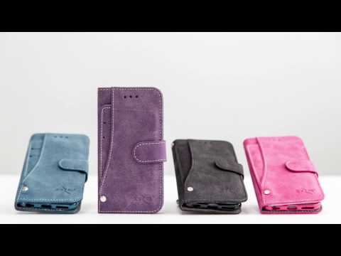 Leather Folding Wallet Case with Slide out Card Holder, Purple