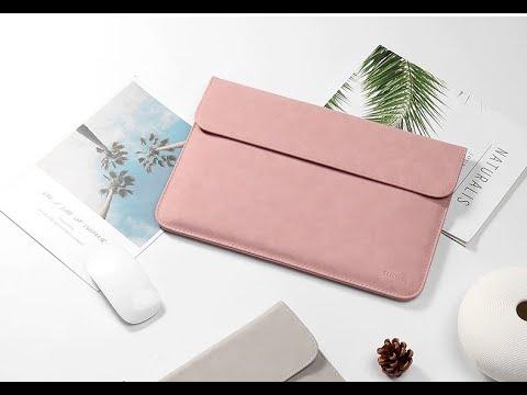 Сумка-чехол для легкого/тонкого ноутбука/макбука 12 дюймов с чехлом для мышки и зарядного устройства TAIKESEN розовый (TN-32841) Video #1