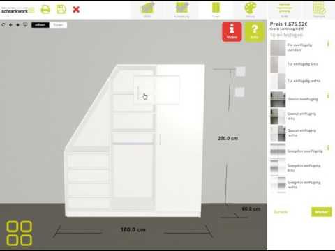 """schrankwerk.de - Der 3D-Konfigurator für Möbel nach Maß - Schritt 3 """"Türen"""""""