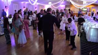 DJ Jimmy Jamm dancing to 'Uptown funk' with bride at Ives-Day wedding