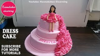 Fondant Ruffle Birthday Girl Doll Dress Cake Design Ideas Decorating Tutorial Video