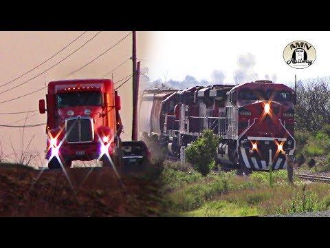 Trenes, camiones y un amanecer en Aragon Hidalgo