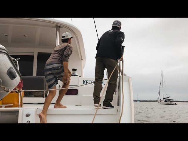 Rescuing an adrift catamaran from dismasting on a bridge and a boring monologue.