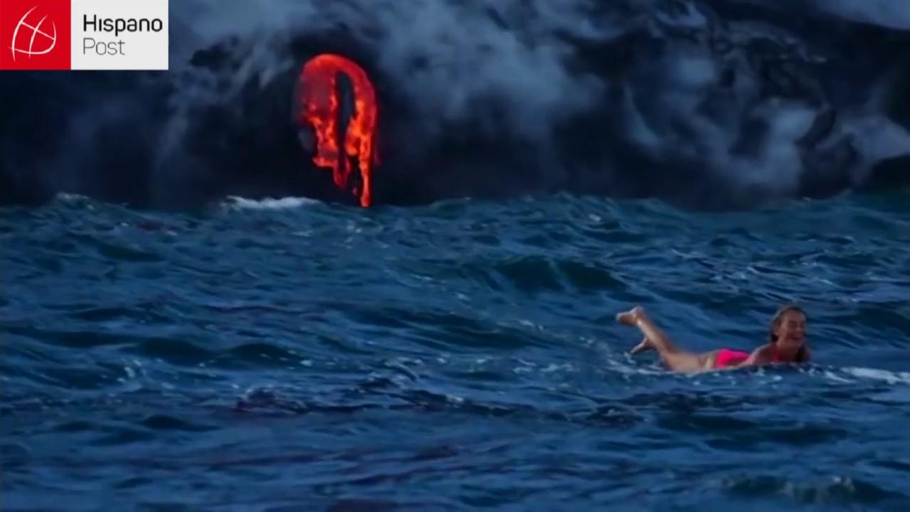 Allison Teal surfea cerca de un volcán en erupción