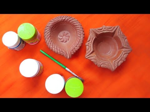 HOW TO DECORATE DIYA AT HOME || DIY EASY DIYA DECORATION|| DIYA PAINTING || DIWALI 2018
