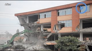 Tenants watch in horror as bulldozers pull down mall - VIDEO