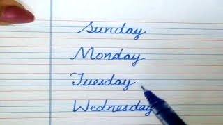 Days of the Week With Spellings | Cursive Writing for Beginners | Sunday Monday Tuesday Wednesday