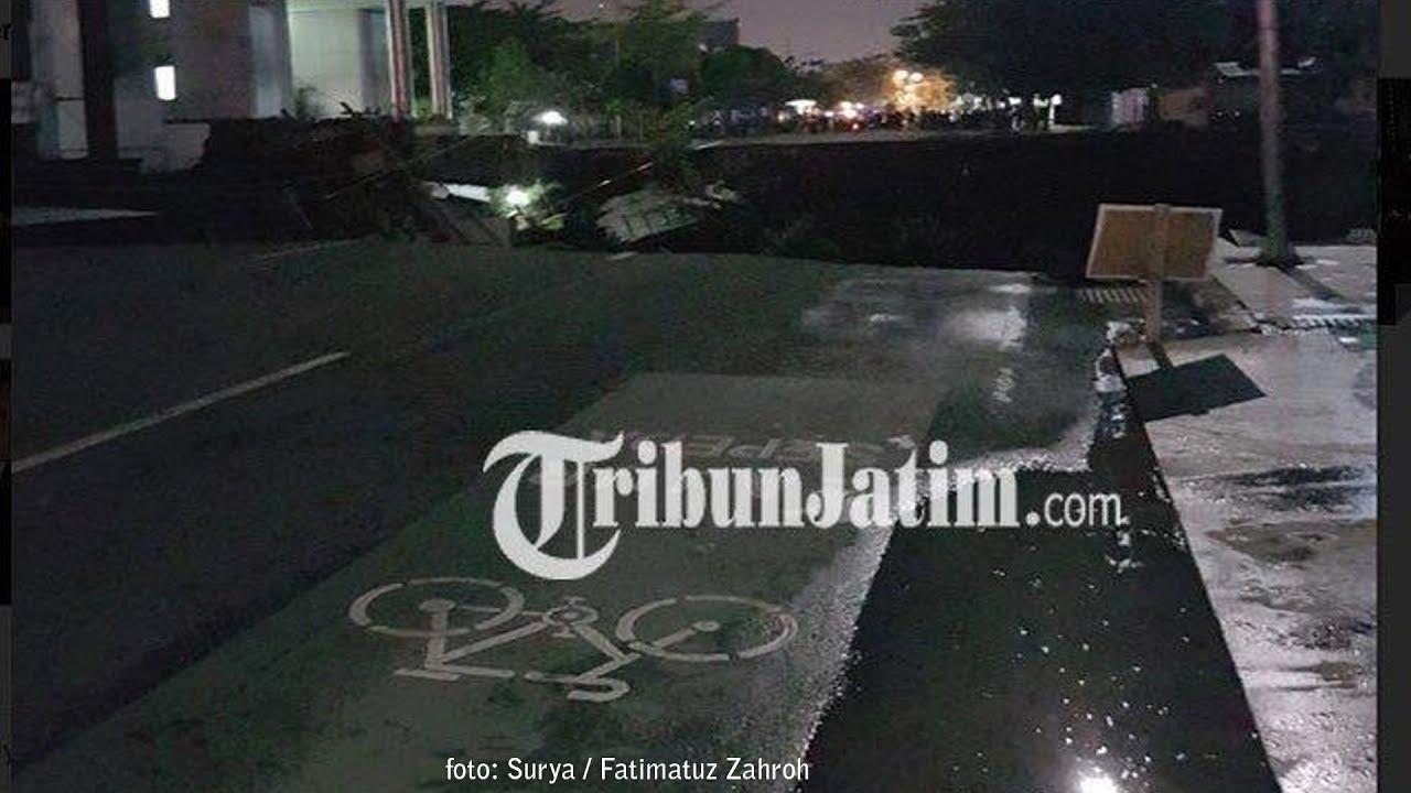Video Penampakan Jalan Gubeng Surabaya Tiba-tiba Ambles Sepanjang 50 Meter, Sedalam 10 Meter