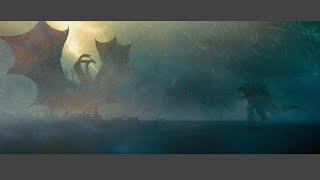 Ghidorah and Godzilla artic fight scene