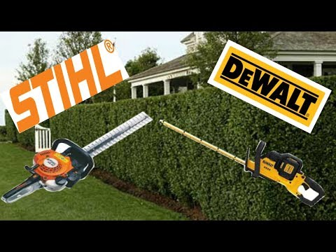 Gas Power Equipment VS Battery Power Equipment, Stihl HS 45 VS Dewalt 40 Volt Hedge Trimmer