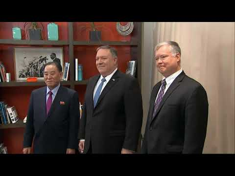Mike Pompeo and North Korea's former spy chief have started a meeting aimed at resuming efforts to end the isolated country's nuclear weapons program by arranging a 2nd summit between President Donald Trump and   North Korean leader Kim Jong Un. (Jan. 18)