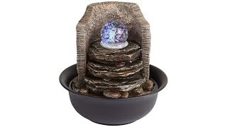 "Rock Stack and Ball 10 1/4"" High Tabletop Fountain"