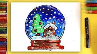 Ёлка и дом в снежном шаре