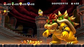 New Super Mario Bros. U -- Bowser Fireball Takedown in The Final Battle