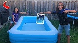 kids Ipad In The Swimming Pool Prank!! funny sisters video