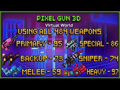 Pixel Gun 3D - Using All Weapons Challenge (484 Weapons!)