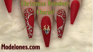 Easy Reindeer Charm Nails | Modelones.com | Nail Sugar