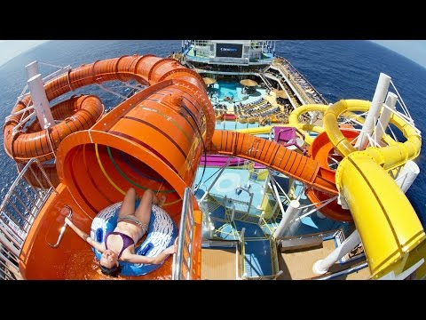 Kaleid-O-Slide FULL POV Ride on Carnival Vista Cruise Ship, WaterWorks Water Park at Sea First Tube