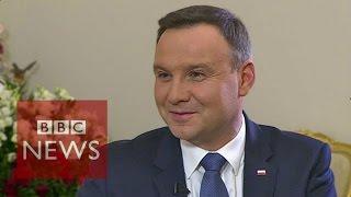 We're 'Euro-realists' not Eurosceptics says Polish President Andrzej Duda - BBC News
