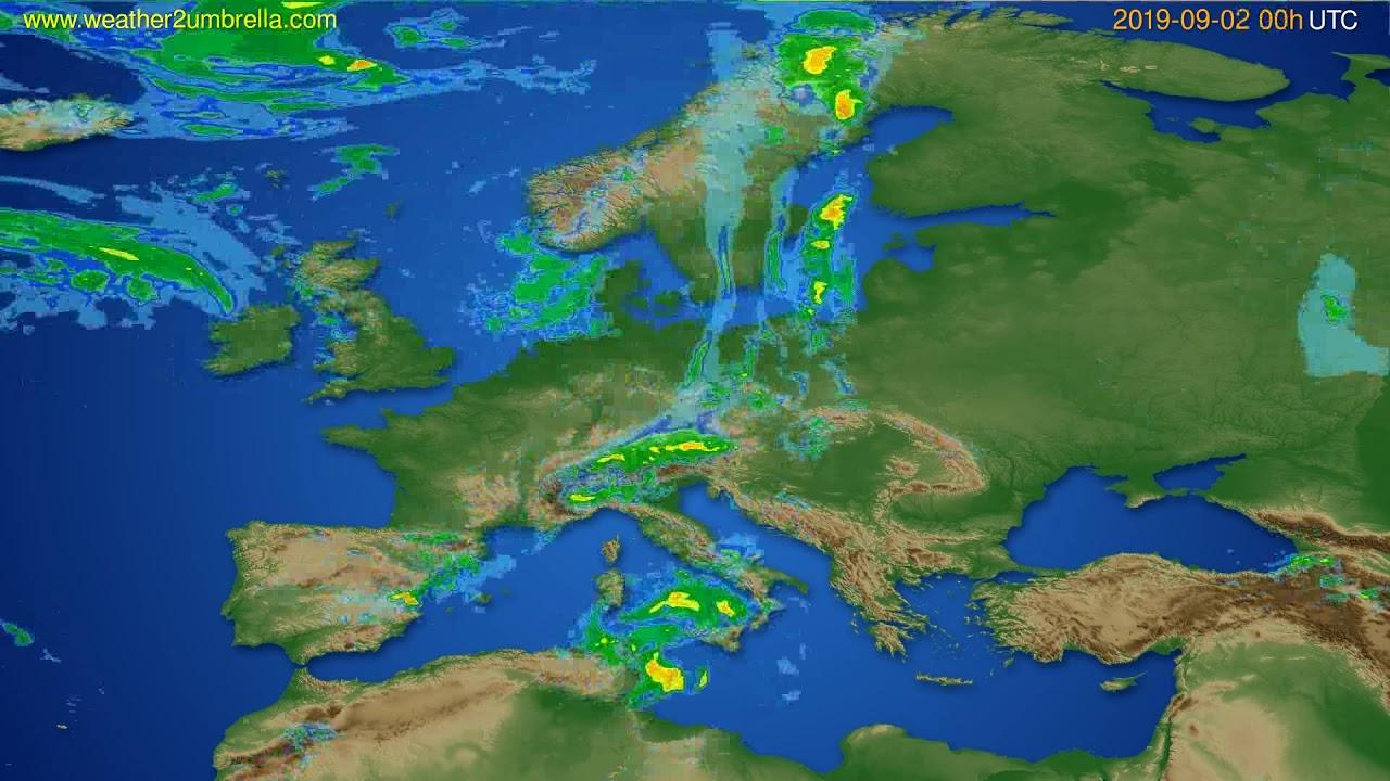 Radar forecast Europe // modelrun: 12h UTC 2019-09-01