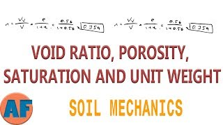 Calculating Soil Properties (Void Ratio, Porosity, Saturation, Unit Weight)