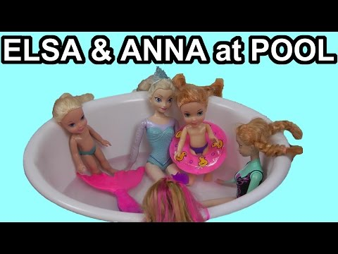 Elsa And Anna Toddlers & Olaf Go To The POOL With Barbie