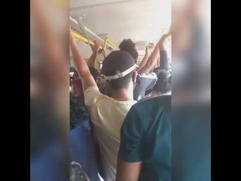 Vídeos mostram ônibus superlotados na Capital