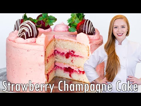 Video Strawberry Champagne Cake