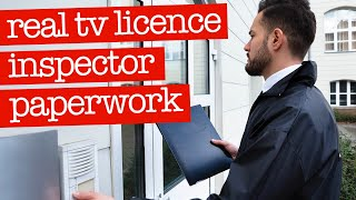 Real TV Licence Inspector Paperwork