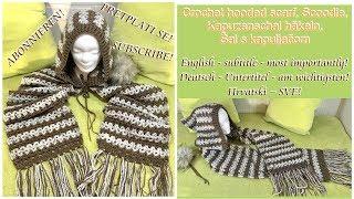 Crochet Hooded Scarf, Scoodie, Hooded Cowl, Kapuzenschal Häkeln