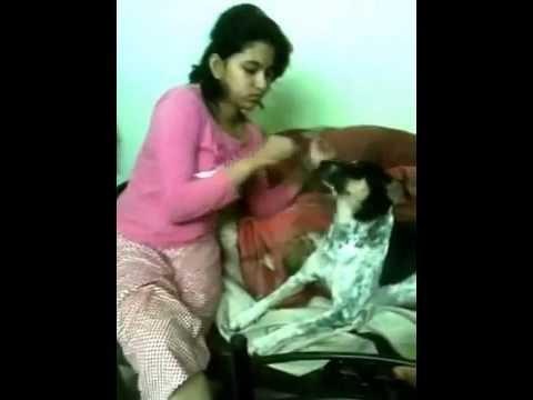 Desi Girl With Funny Dog Prank