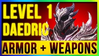 Skyrim Remastered Best DAEDRIC Weapons & Armor ALL Enchanted At LEVEL ONE! (Special Edition Build) - dooclip.me