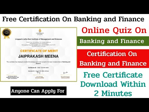 Banking and Finance Certification Course || Free Quiz Certificate ...