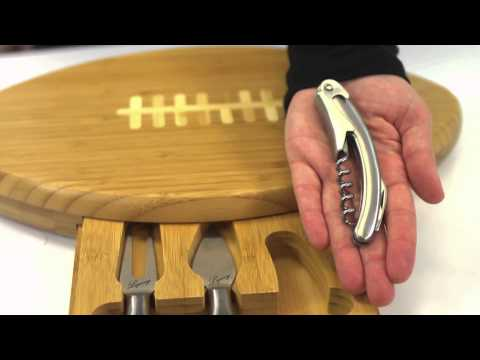 Picnic Time Quaterback Football Cheese Board With Tools
